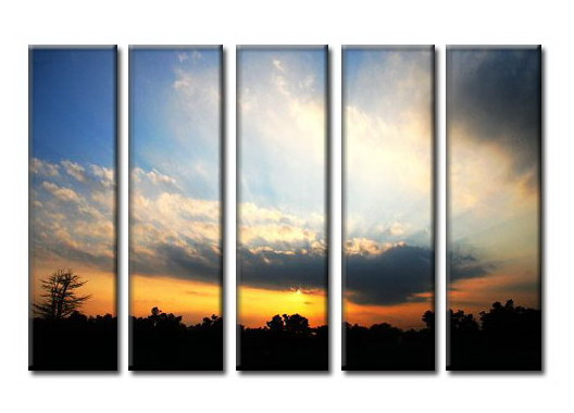 Modern Oil Paintings on canvas sunglow painting -set08006