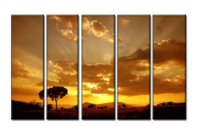 Modern Oil Paintings on canvas sunglow painting -set08010