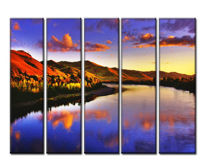 Modern Oil Paintings on canvas sunglow painting -set08013