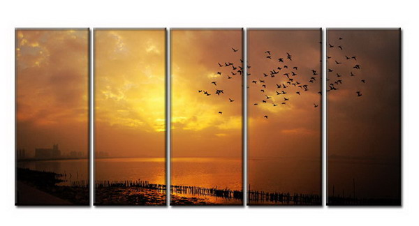 Modern Oil Paintings on canvas sunglow painting -set08015