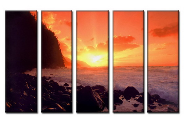Modern Oil Paintings on canvas sunglow painting -set08026