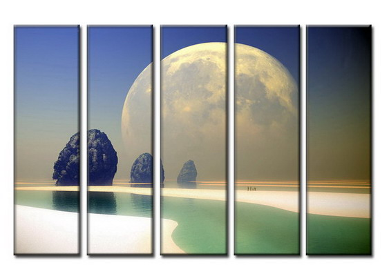 Modern Oil Paintings on canvas setting sun painting -set08031