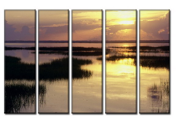 Modern Oil Paintings on canvas setting sun painting -set08032