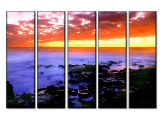 Modern Oil Paintings on canvas sunglow painting -set08033