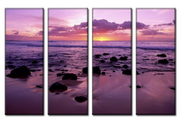 Modern Oil Paintings on canvas seacoast painting -set08036
