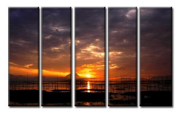 Modern Oil Paintings on canvas sunglow painting -set08051