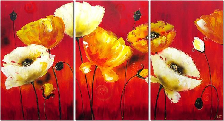 Modern Oil Paintings on canvas flower painting -set08073