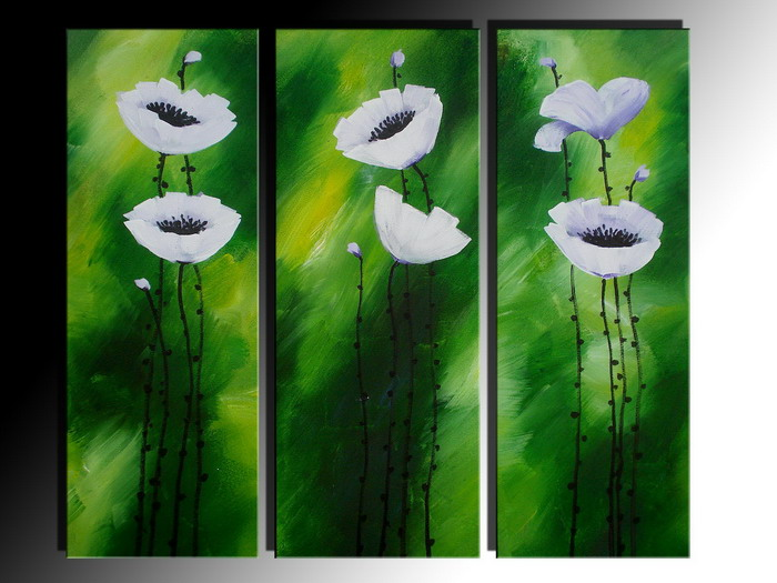 Modern Oil Paintings on canvas flower painting -set08077
