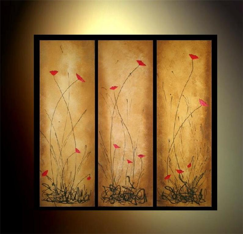 Modern Oil Paintings on canvas flower painting -set09013