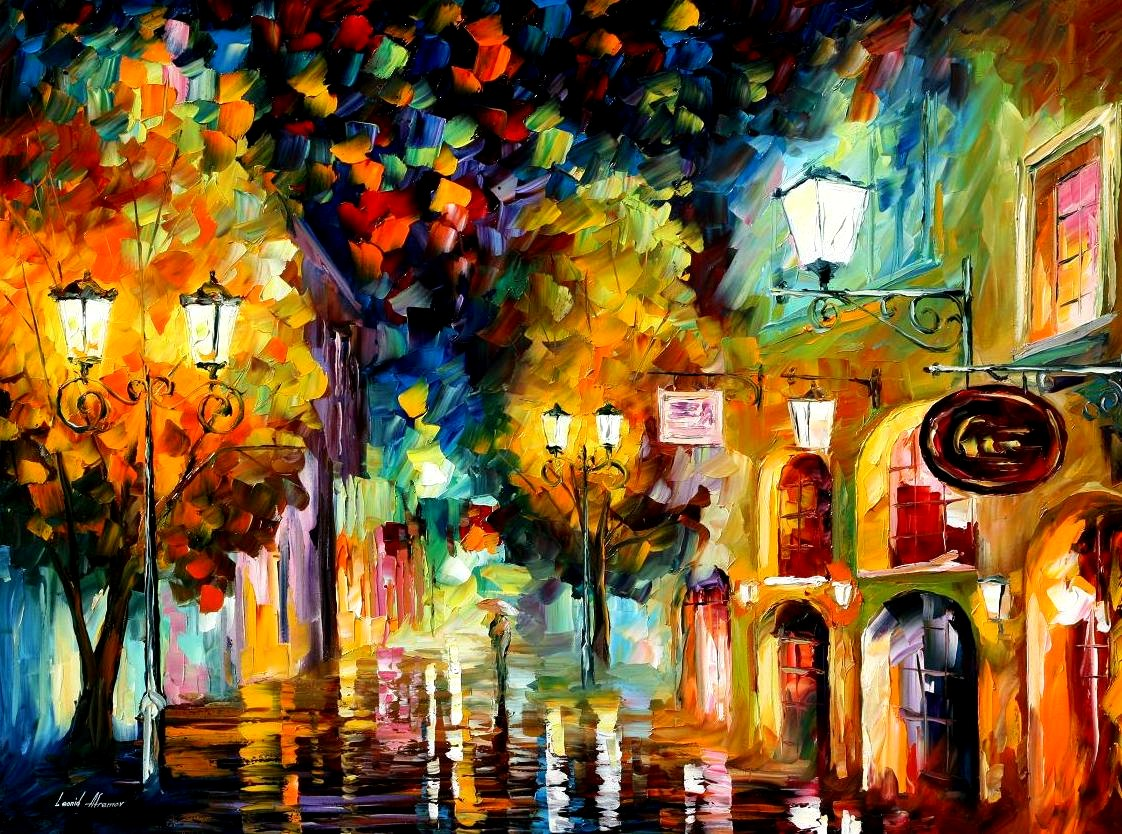 Modern impressionism palette knife oil painting City003
