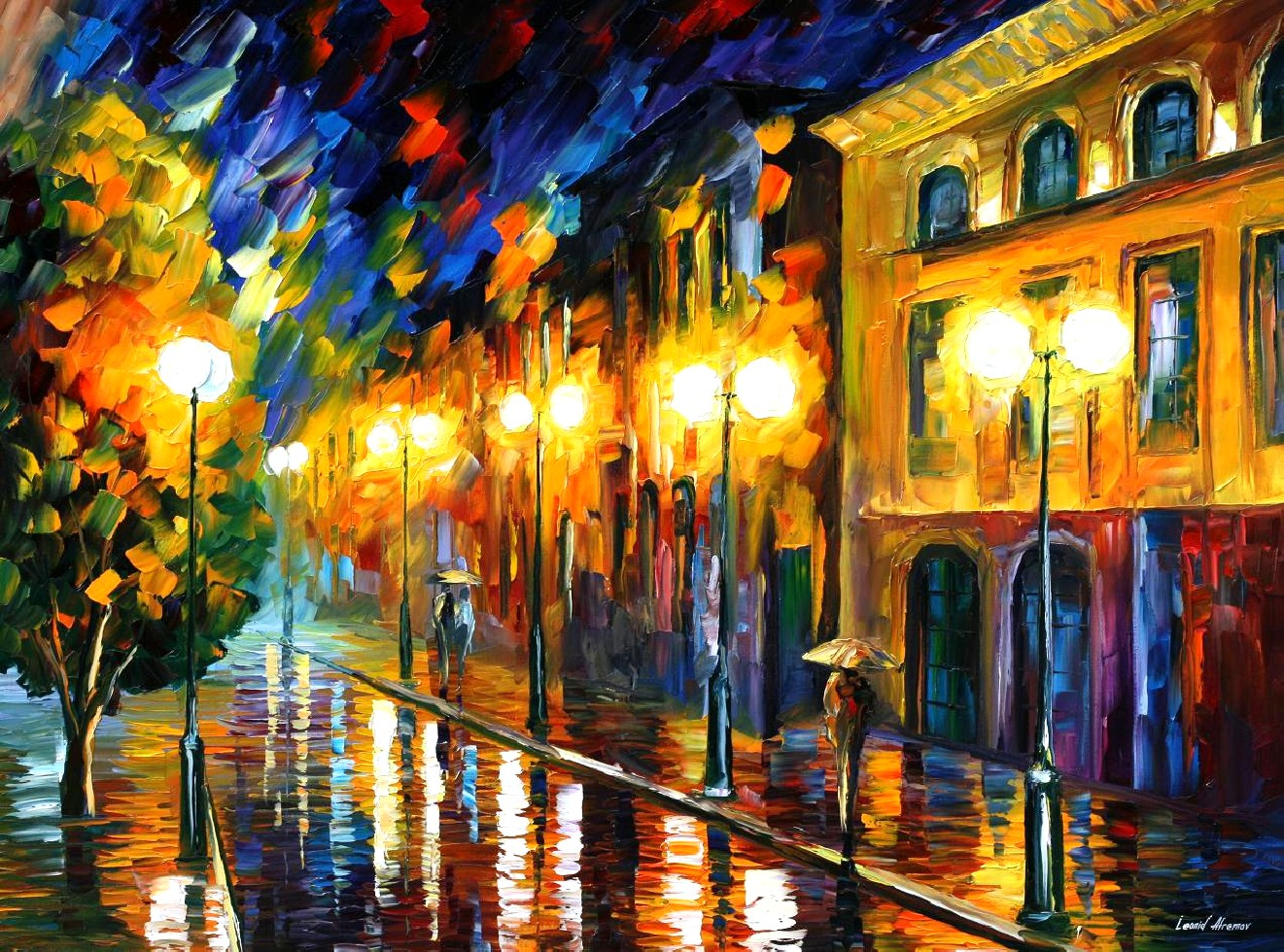 Modern impressionism palette knife oil painting City005