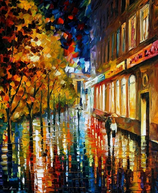 Modern impressionism palette knife oil painting City010