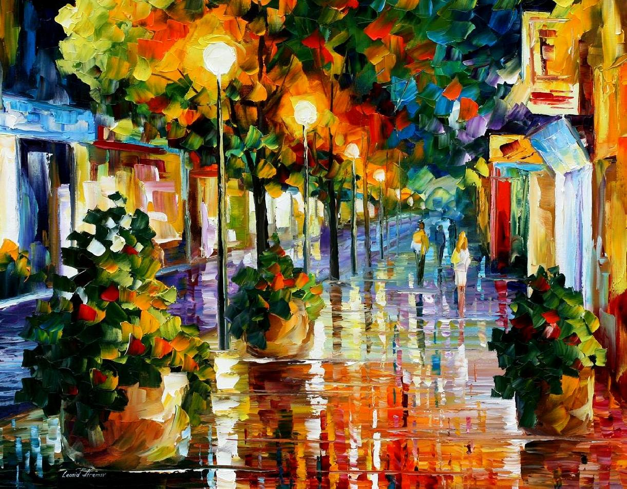 Modern impressionism palette knife oil painting City084