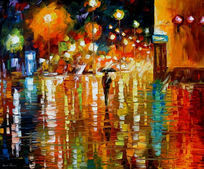 Modern impressionism palette knife oil painting City087