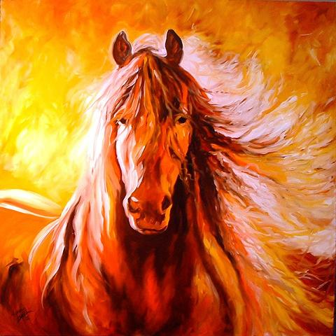 Dafen Oil Painting on canvas -horse054
