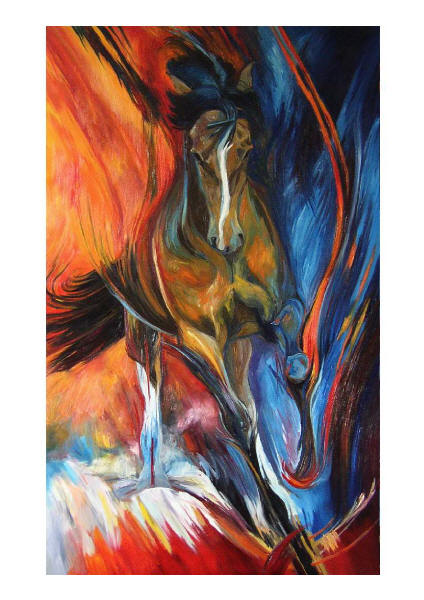 Dafen Oil Painting on canvas -horse079