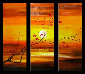 Dafen Oil Painting on canvas red flowers -set014