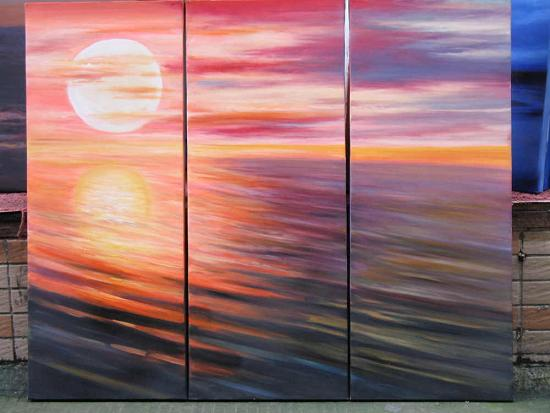 Dafen Oil Painting on canvas sunglow -set535